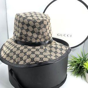 Gucci Authentic 90s GG Wide Brim Hat w/ Hat Box 🔥